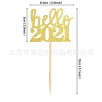 Hello 2021 Cake Insertion Card New Year Annual Meeting Theme Party Handmade Decorating Supplies Countersign High Quality 0 3st M2