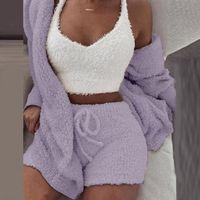 Mulheres de pelúcia mulheres 3 peças conjunto de moletom sweatpants sweatsuit 3xl jaqueta colheita superior shorts terno esportes terno jogging femme quente