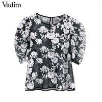 Vadim 여성 세련된 꽃 자수 메쉬 블라우스 투명 O 목 3 쿼터 슬리브 세련된 셔츠 탑을 통해보기 DA5831