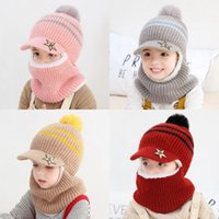 Niñas Chicas Woolen Hat Winter Baby Peluche Mantenga el cuello cálido Guard Cap de tapa de viento PROTECCIÓN DE OUTOS Sombreros de punto 13 9JH J2