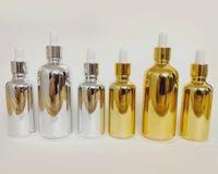 Boş altın gümüş cam damlalık şişe uçucu yağ parfüm şişesi 5 ml 10 ml 15 ml 20 ml 30 ml lüks pipet yuvarlak cam şişe