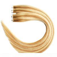P27 613 100 g Full Cuticle Nahtlose gerade PU-Haut Schussverlängerungen 40 stücke Band in menschlichen Haarverlängerungen Körperwelle Jungfrau Brasilianisches Haar