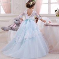 Принцесса детские формальные платья девочек длинный хвост Pettified Pageant платье с длинным рукавом платья в возрасте 6-14 лет