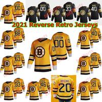 بوسطن بروينز 2021 عكس الرجعية الهوكي الفانيلة ديفيد باسترنك جيرسي باتريس بيرجيرون تشارلي كويل راي بورك براد مارشاند مخصص