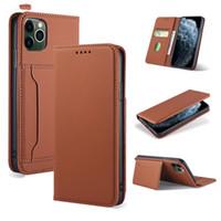 Funda de cuero con flip magnético real para iPhone 12 Mini 12 11 Pro Max XS XR X Tarjeta de billetera Tapa trasera para iPhone SE 7 8 más 6S 6