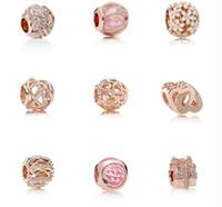 S925 jóias de prata esterlina diy miçangas se encaixa pandora cerveja charme para pandora pulseiras para mulheres para rosa europeia rosa braceletnecklace