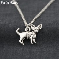 Pendant Necklaces Antique Silver Color Chihuahua Dog Stainless Steel Chain Necklace Boho Animal Chocker Fashion Accessories Jewelery 20211