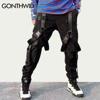 Gonthwid multi fivela fitas bolsos bolsos corredores cargas harem calças streetwear homens outono hip hop casual calça macho calças 201110