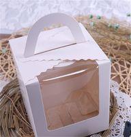 Single Cupcake Muffin Boxes Cake Paper Package Case met Clear Venster Voedselopslag Snacks Verjaardag Party Supply 0 35ZX F2