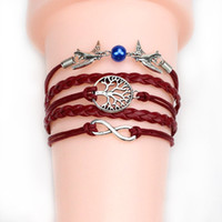 45 Arten Charms Schmuck Armbänder Charms Infinity Armband Für Frauen Und Männer Kreuz Eule Zweig Liebe Vogel glauben