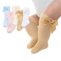 Носки младенцев дети малышей девочек мальчики колено высокие колготки теплые ленты ленты лук твердый хлопок растягивается милый милый 0-3Y