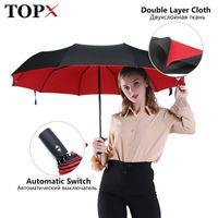 Forte antivento doppio automatico 3 ombrello pieghevole femmina maschio maschio 10k auto lusso grande ombrellone pioggia donne uomini business umbrelle 201125