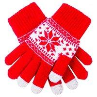 خمسة أصابع قفازات لطيف عيد الميلاد الدافئة الشتاء ندفة الثلج مطبوعة محبوك لمس الرجال النساء شاشة قفاز حزب اللوازم 1