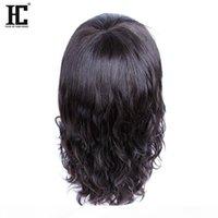 HC Saç 100% Bakire Remy İnsan Saç Büyüleyici Orta Uzunlukta Bob Doğal Dalga Ucuz Dantel Ön İnsan Saç Peruk Siyah Kadınlar Için Doğal Renk