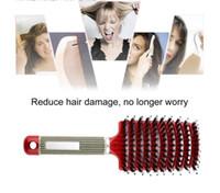 Mujeres Cuero cabelludo Masaje Masaje Peinera Nylon Cepillo para el cabello Detangulado Rizado Húmedo Cepillo de Pelo Para Salón Peluquería Estilo Herramientas