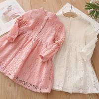 Primavera Otoño 3 4 6 8 10 a 12 años Niño Inglaterra Estilo Princesa Pearl Lace Longitud Kids Baby Girl Manga Larga Vestido 201204