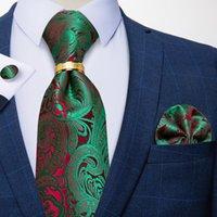 Галстуки лука 100% шелковый жаккардовый тканый зеленый красный красный пазли цветочные мужчины галстук роскошный 8 см деловая свадьба партия галстук набор Hanky Ring Dibange