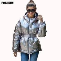 Глянцевая серебристая зимняя куртка женщин с поясом хлопок мягкий бомбардировщик с капюшоном PUTHER COAD ABRIGOS MUJER Invierno Y201012