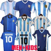 1978 1986 1998 Argentina Maradona 홈 멀리 축구 유니폼 레트로 버전 Maillot 86 78 Diego Maradona Caniggia 남자 키트 풋볼 셔츠