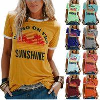 Le donne portano sul sole stampa la gita a girocollo T-shirt estate casual manica corta a manica corta T-shirt per le donne