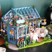 CuteBee diy دمية دمية خشبية دمية المنازل مصغرة دمية البيت أثاث كيت كازا الموسيقى الصمام اللعب للأطفال هدية عيد A68C 201217
