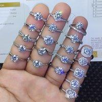 925 Sterling Silver Moissanite Certifié Bague de mariage de diamant pour femme Engagement de luxe D Couleur VVS1 Round 1 ct Ouverture Anneaux de mode