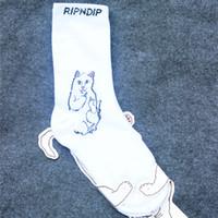 Moda orta parmak ucuz kedi uzaylı ripndip erkekler ve kadınlar saf cottonube sokak kaykay çorap 2021