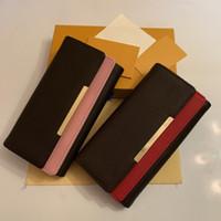 Wholesale mulheres clássicas vermelhas e cor-de-rosa fundos marrons flor senhora longa carteira multicolor moedas bolsa cartão cartão original caixa de zíper