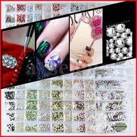 20 färger kristall nagel rhinestone 3d smycken glas diamant pärlor nagel konst dekoration diy hantverk rhinestones 6 storlek