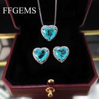 Люстра свисания Ffgems Paraiba Tourmaline изумрудный драгоценный камень сердца серебряные серьги серебряные серьги с цветом ожерелье 2021 для женщин девушка подарок