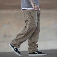 Multi-Pocket Cargo брюки мужские стритвальщики свободные прямые повседневные мешковатые брюки мужские широкие ноги холст брюки работы брюки 201218