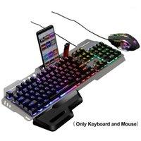 104 clés Gaming pour ordinateur de bureau Mécanique Home Office Keyboard Mouse Combo Muet Rainbow Backlit Plug and Play Computer Accessoires1