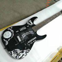 Высокое качество Низкая цена GYESP-0002 Черный Цвет Личности Узор Черный Оборудование Kirk Hammett Ouija 6 Строки Электрическая гитара