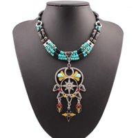 Kedjor Florosy emalj uttalande pärla stor blomma hänge halsband för kvinnor Bohemian etniska metall chunky akryl bib kedja halsband1