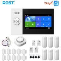 PGST PG107 نظام إنذار Tuya 4.3 بوصة شاشة WIFI GSM GPRS اللطيف أمن الوطن مع PIR استشعار الحركة النار كاشف الدخان Y1201