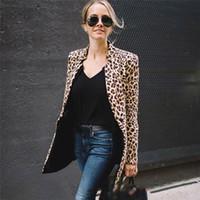 Sexy dames Blazer Léopard Print Blazer pour femme manche à manches longues Femmes Blazers pour Office Plus Taille Blazers et vestes X1214
