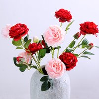 Handgemachte künstliche Blume Seide Pfingstrose Blumen Einzelne Niederlassung mit Blättern für Hochzeitstisch Mittelstücke Home Party Dekoration WQ94