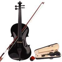 Acoustic 바이올린 4/4 충분한 케이스와 보우 로사 세트 4 개의 문자열 학생들을위한 검정색 미국에서 우주선
