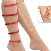 Unisex Sıkıştırma Çorap Erkekler Kadınlar Açık Toe Fermuar Diz Yüksek Kadın Anti-Yorgunluk Sıkı Naylon Çorap Drop1 Erkekler