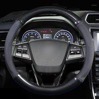 Кожаный автомобиль углеродного волокна крышка рулевого колеса для I20 I30 I40 Tucson Solaris IX35 CRETA SANTA FE KONA ELANTRA1