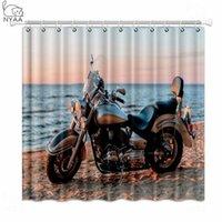 NYAA 오토바이 쵸파 샤워 커튼 해변 방수 폴리 에스터 패브릭 욕실 커튼 가정 장식