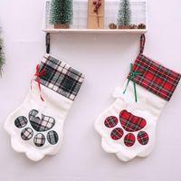Chaussettes moelleux santa chaussettes christmas animal de compagnie paille paille patte entasser pendaison cheminée xmas arbre décoration de Noël