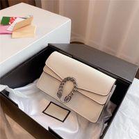 Vintage Hohe Qualität Echtes Leder Frau Mode Handtasche Metallkette Eine Schulter Messenger Bag Hufeisendruck Schnalle Messenger Bags