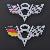 Autocollant de voiture Allemagne USA AMERIMAGE Drapeau Badge Auto Emblem Décalque pour V8 Logo BMW Mercedes Audi Volkswagen Ford Chevrolet Dodge Jeep