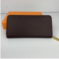 Calidad superior con caja mujer hombre real monedero monedero monedero titular de la tarjeta con cremallera clásica billetera