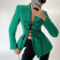 Fashion Femmes Blazer V-Col V-Col Sexy Dentelle Longues manteaux et vestes Femme 2020 Automne Hiver Mode Vert Coat Femme