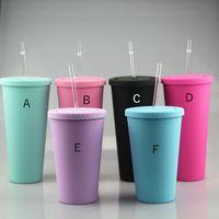 16 унций матовые акриловые чашки пластиковый стакан с крышками чистые соломинки двойная стена кофейная кружка многоразовая чашка