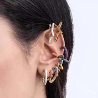 귀 커프 사랑 하트 스타 CZ 크리스탈 귀고리 귀걸이 여성을위한 귀걸이 다채로운 멀티 보석 클립 무지개 쥬얼리