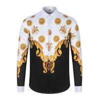 2020 новая мужская рубашка причудливая с длинным рукавом женщины бренд роскошный королевский дворец барокко корона печать Гавайи Slim Fit Casual Camisas Vakaup