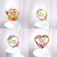 Acrylique décorer carte amour coeur en forme de gâteau insertion Nouveau charmant fleur anniversaire arrangement arrangement ornements 3zw k2